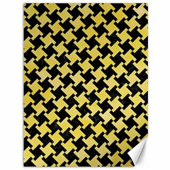 Houndstooth2 Black Marble & Yellow Watercolor Canvas 36  X 48   by trendistuff