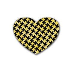 Houndstooth2 Black Marble & Yellow Watercolor Heart Coaster (4 Pack)  by trendistuff
