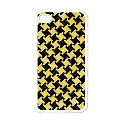 Houndstooth2 Black Marble & Yellow Watercolor Apple Iphone 4 Case (white) by trendistuff