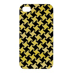 Houndstooth2 Black Marble & Yellow Watercolor Apple Iphone 4/4s Premium Hardshell Case by trendistuff