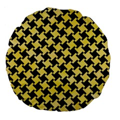 Houndstooth2 Black Marble & Yellow Watercolor Large 18  Premium Flano Round Cushions by trendistuff