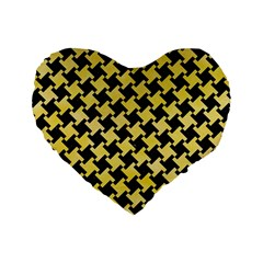 Houndstooth2 Black Marble & Yellow Watercolor Standard 16  Premium Flano Heart Shape Cushions by trendistuff