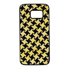 Houndstooth2 Black Marble & Yellow Watercolor Samsung Galaxy S7 Black Seamless Case