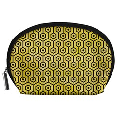 Hexagon1 Black Marble & Yellow Watercolor Accessory Pouches (large)  by trendistuff