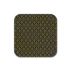 Hexagon1 Black Marble & Yellow Watercolor (r) Rubber Square Coaster (4 Pack)