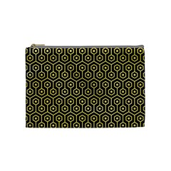 Hexagon1 Black Marble & Yellow Watercolor (r) Cosmetic Bag (medium)  by trendistuff