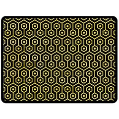 Hexagon1 Black Marble & Yellow Watercolor (r) Double Sided Fleece Blanket (large)  by trendistuff