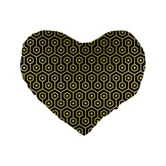 Hexagon1 Black Marble & Yellow Watercolor (r) Standard 16  Premium Flano Heart Shape Cushions by trendistuff