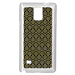 Hexagon1 Black Marble & Yellow Watercolor (r) Samsung Galaxy Note 4 Case (white) by trendistuff