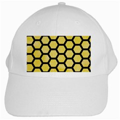 Hexagon2 Black Marble & Yellow Watercolor White Cap by trendistuff