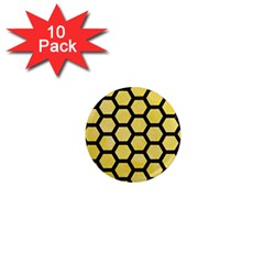 Hexagon2 Black Marble & Yellow Watercolor 1  Mini Magnet (10 Pack)  by trendistuff