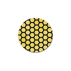 Hexagon2 Black Marble & Yellow Watercolor Golf Ball Marker (4 Pack) by trendistuff