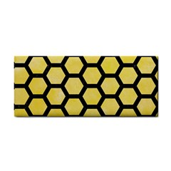 Hexagon2 Black Marble & Yellow Watercolor Cosmetic Storage Cases by trendistuff