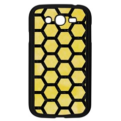 Hexagon2 Black Marble & Yellow Watercolor Samsung Galaxy Grand Duos I9082 Case (black) by trendistuff