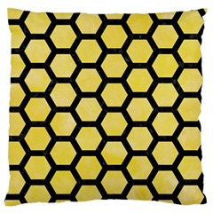 Hexagon2 Black Marble & Yellow Watercolor Large Flano Cushion Case (one Side) by trendistuff