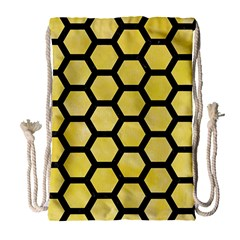 Hexagon2 Black Marble & Yellow Watercolor Drawstring Bag (large) by trendistuff