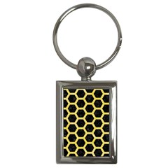 Hexagon2 Black Marble & Yellow Watercolor (r) Key Chains (rectangle)  by trendistuff