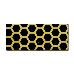 Hexagon2 Black Marble & Yellow Watercolor (r) Cosmetic Storage Cases by trendistuff