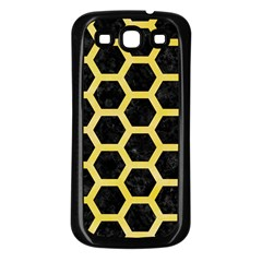 Hexagon2 Black Marble & Yellow Watercolor (r) Samsung Galaxy S3 Back Case (black) by trendistuff