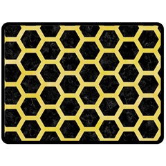 Hexagon2 Black Marble & Yellow Watercolor (r) Double Sided Fleece Blanket (large)  by trendistuff