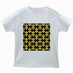 Puzzle1 Black Marble & Yellow Watercolor Kids White T Shirts