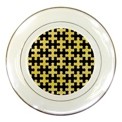 Puzzle1 Black Marble & Yellow Watercolor Porcelain Plates by trendistuff
