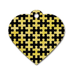 Puzzle1 Black Marble & Yellow Watercolor Dog Tag Heart (two Sides) by trendistuff