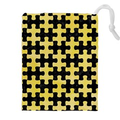 Puzzle1 Black Marble & Yellow Watercolor Drawstring Pouches (xxl) by trendistuff