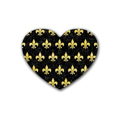 Royal1 Black Marble & Yellow Watercolor Heart Coaster (4 Pack)  by trendistuff