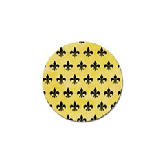 Royal1 Black Marble & Yellow Watercolor (r) Golf Ball Marker (4 Pack) by trendistuff