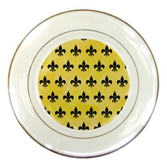Royal1 Black Marble & Yellow Watercolor (r) Porcelain Plates by trendistuff