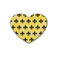Royal1 Black Marble & Yellow Watercolor (r) Rubber Coaster (heart)  by trendistuff