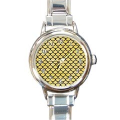 Scales1 Black Marble & Yellow Watercolor Round Italian Charm Watch by trendistuff