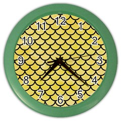 Scales1 Black Marble & Yellow Watercolor Color Wall Clocks by trendistuff