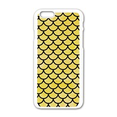 Scales1 Black Marble & Yellow Watercolor Apple Iphone 6/6s White Enamel Case by trendistuff
