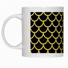 Scales1 Black Marble & Yellow Watercolor (r) White Mugs by trendistuff
