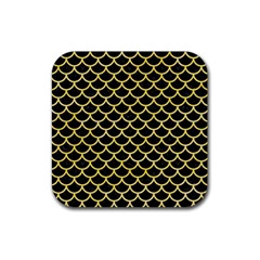 Scales1 Black Marble & Yellow Watercolor (r) Rubber Coaster (square)  by trendistuff