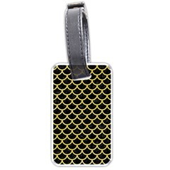 Scales1 Black Marble & Yellow Watercolor (r) Luggage Tags (one Side)  by trendistuff