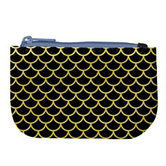 Scales1 Black Marble & Yellow Watercolor (r) Large Coin Purse by trendistuff