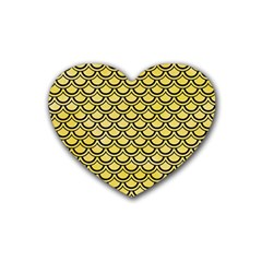 Scales2 Black Marble & Yellow Watercolor Heart Coaster (4 Pack)  by trendistuff