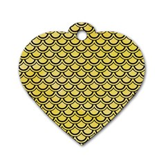 Scales2 Black Marble & Yellow Watercolor Dog Tag Heart (one Side) by trendistuff