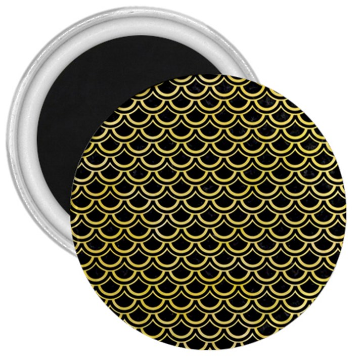 SCALES2 BLACK MARBLE & YELLOW WATERCOLOR (R) 3  Magnets