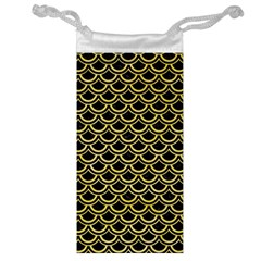 Scales2 Black Marble & Yellow Watercolor (r) Jewelry Bag by trendistuff