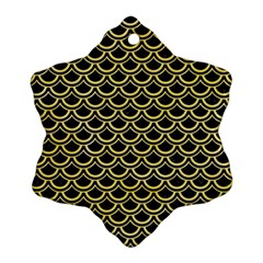 Scales2 Black Marble & Yellow Watercolor (r) Ornament (snowflake) by trendistuff