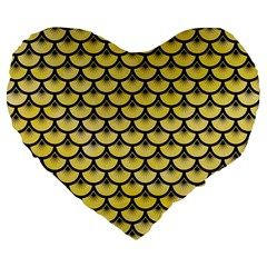 Scales3 Black Marble & Yellow Watercolor Large 19  Premium Heart Shape Cushions by trendistuff