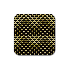 Scales3 Black Marble & Yellow Watercolor (r) Rubber Square Coaster (4 Pack)  by trendistuff