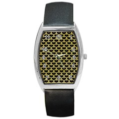 Scales3 Black Marble & Yellow Watercolor (r) Barrel Style Metal Watch by trendistuff