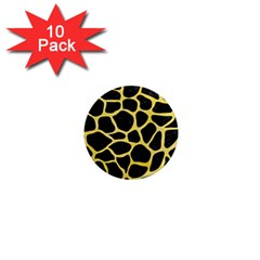 Skin1 Black Marble & Yellow Watercolor 1  Mini Magnet (10 Pack)  by trendistuff