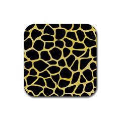 Skin1 Black Marble & Yellow Watercolor Rubber Square Coaster (4 Pack)