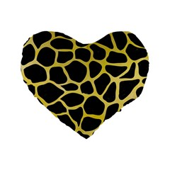Skin1 Black Marble & Yellow Watercolor Standard 16  Premium Flano Heart Shape Cushions by trendistuff
